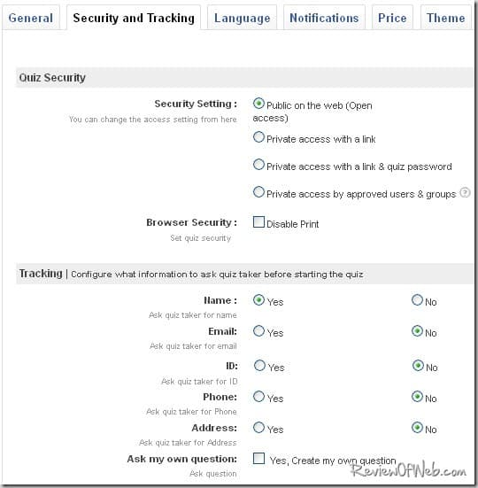 security-tracking-settings