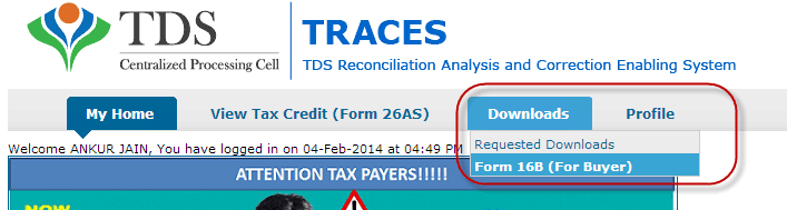Download form 16B from traces
